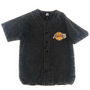 Vintage Starter LA Lakers Baketball Denim Jersey